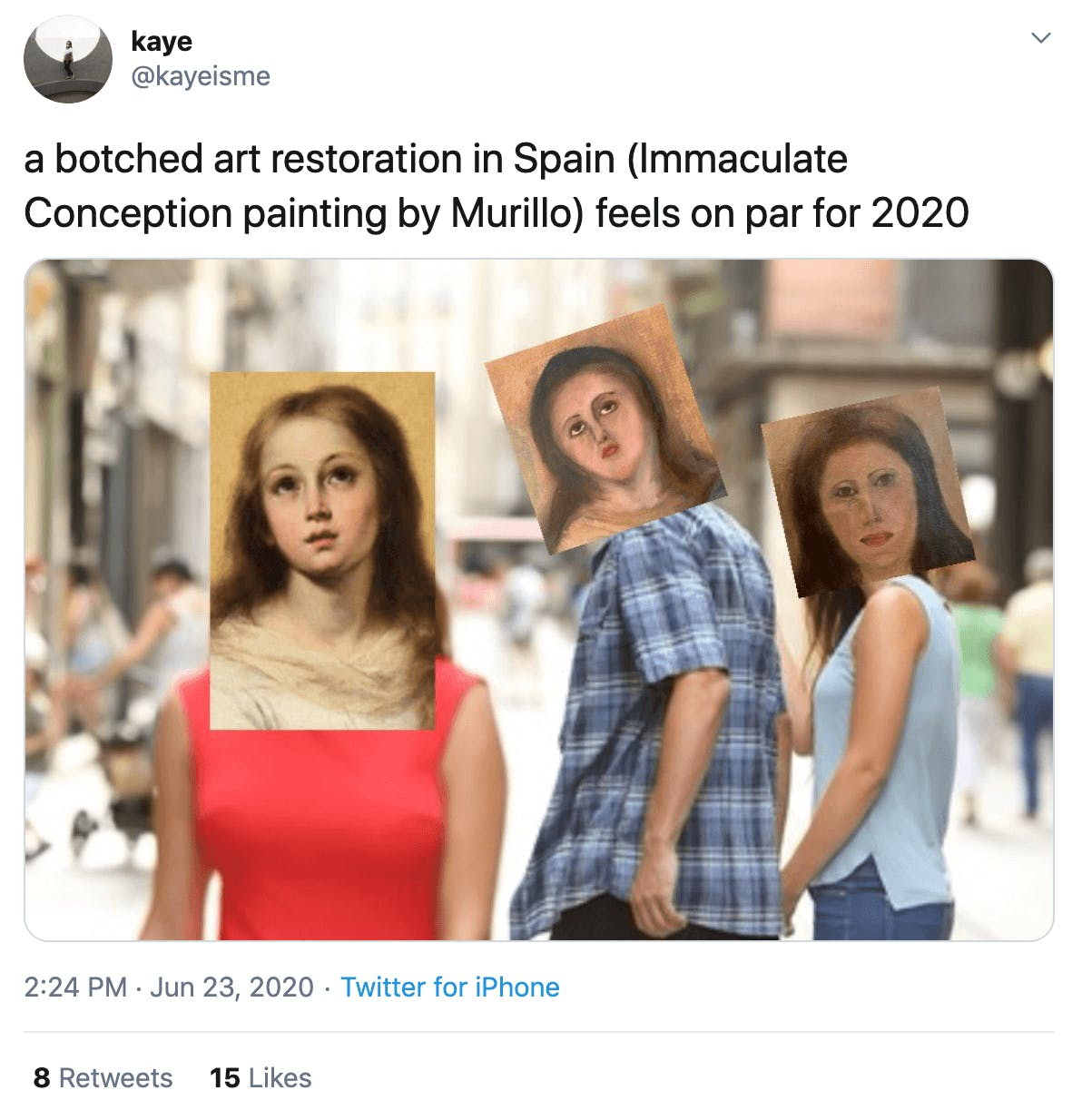 """a botched art restoration in Spain (Immaculate Conception painting by Murillo) feels on par for 2020"" men of man hjolding girlfriend's hand while looking at another woman with the three versions of Mary's face on theirs"