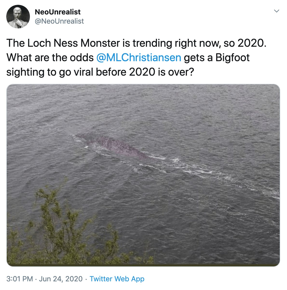The Loch Ness Monster is trending right now, so 2020. What are the odds  @MLChristiansen  gets a Bigfoot sighting to go viral before 2020 is over?