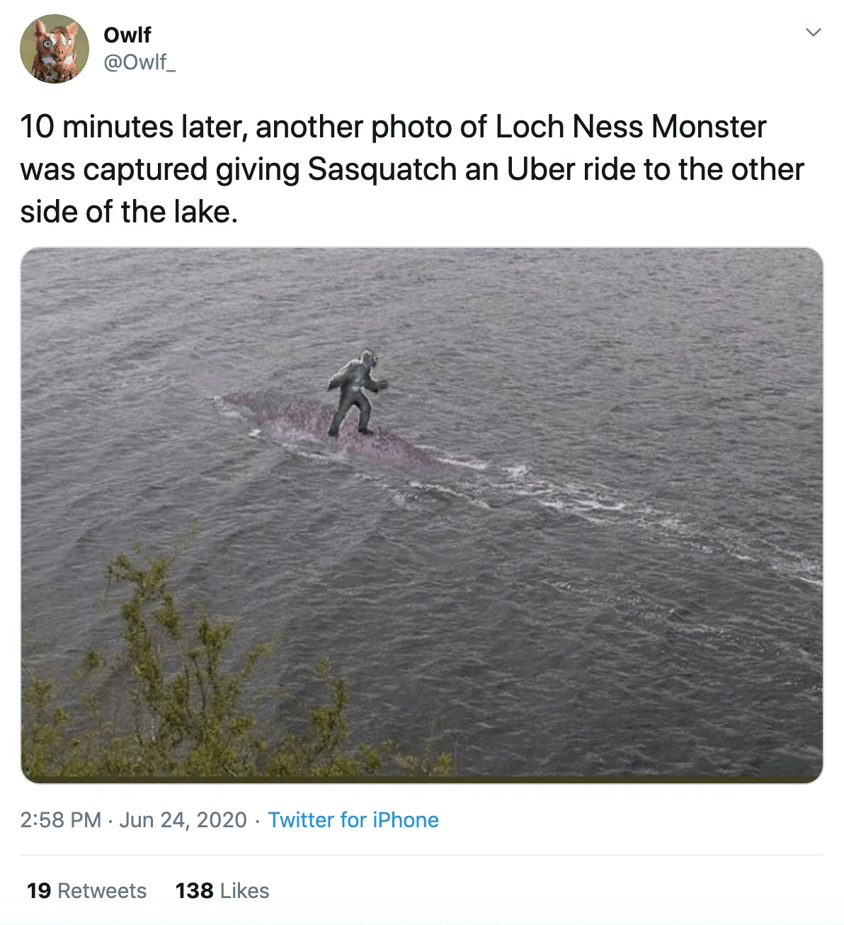 """""""10 minutes later, another photo of Loch Ness Monster was captured giving Sasquatch an Uber ride to the other side of the lake."""" picture of Sasquatch riding Nessie"""
