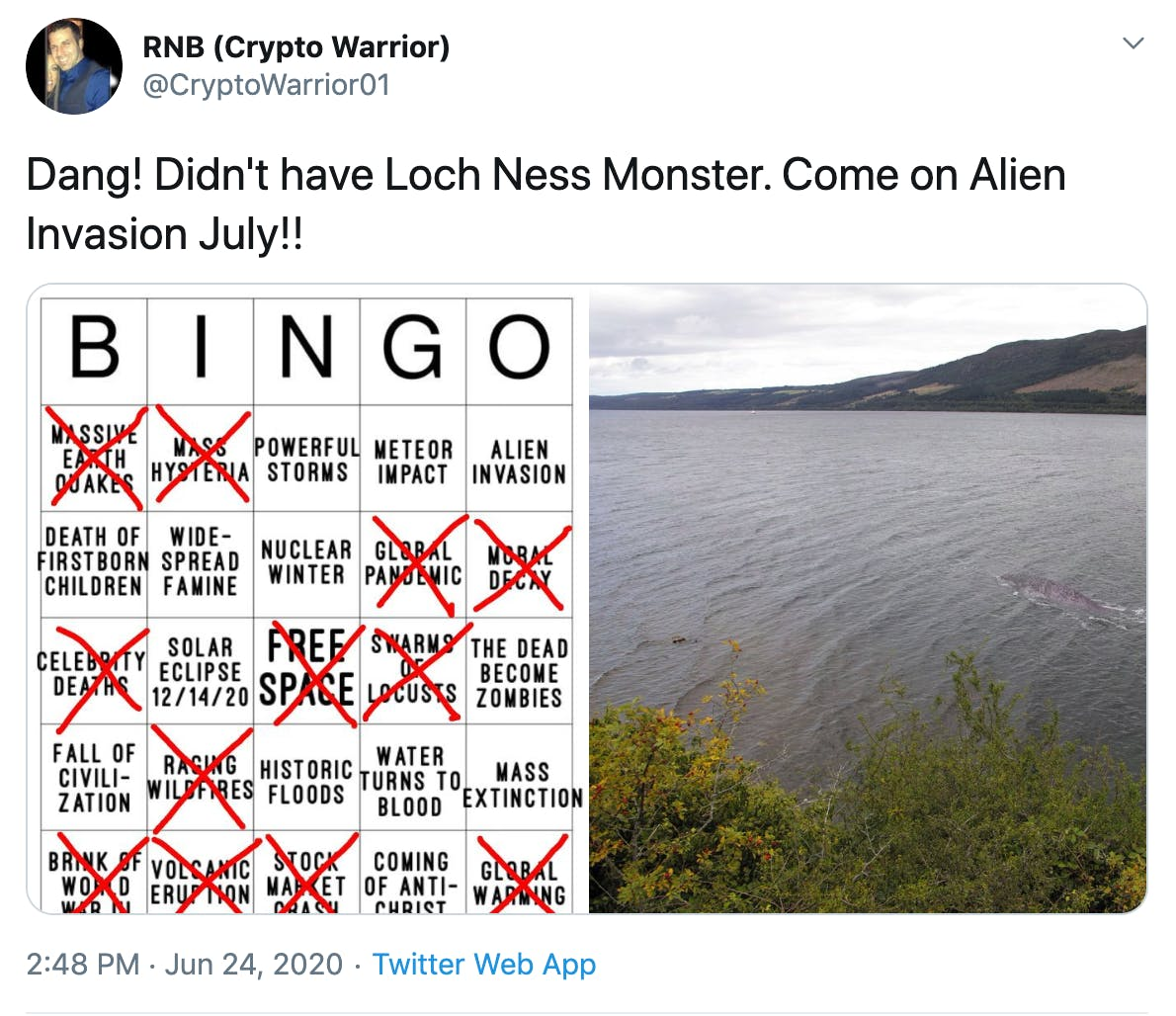 """""""Dang! Didn't have Loch Ness Monster. Come on Alien Invasion July!!"""" followed by picture of filled out Bingo card and image of """"Nessie"""""""