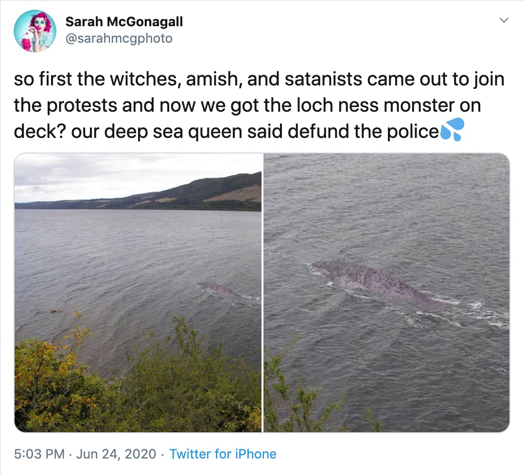 so first the witches, amish, and satanists came out to join the protests and now we got the loch ness monster on deck? our deep sea queen said defund the policeSplashing sweat symbol
