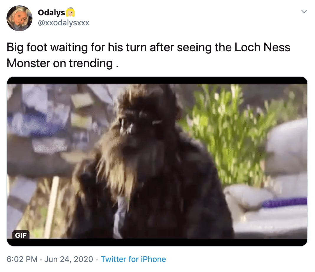 """""""Big foot waiting for his turn after seeing the Loch Ness Monster on trending """" bigoot wearing a tie"""