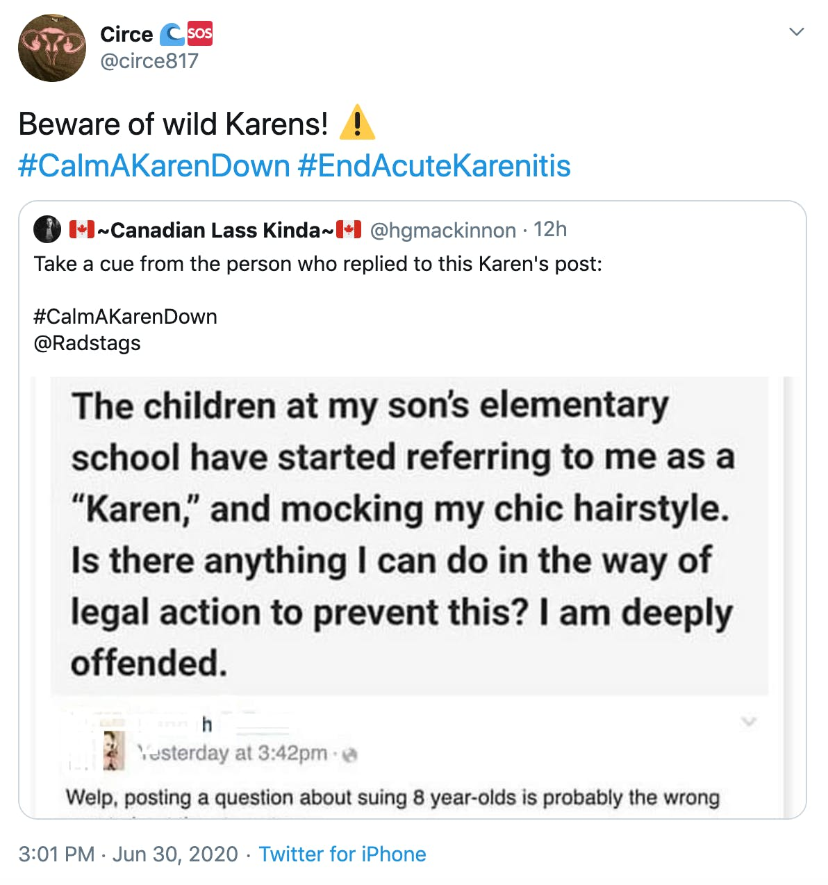 """Beware of wild Karens! Warning sign"" over screenshot of post where woman asks how she can stop local school children calling her Karen and mocking her 'chic' hair"