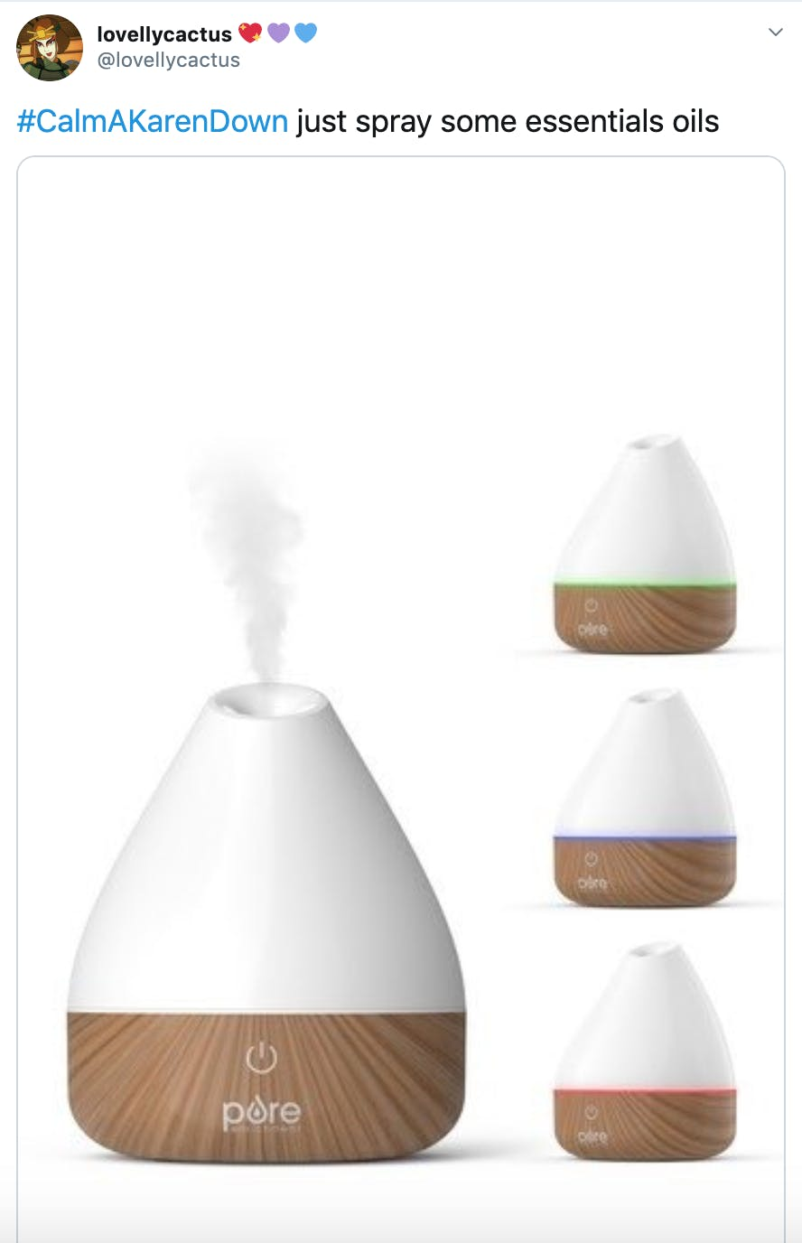 """#CalmAKarenDown just spray some essentials oils"" over image of an oil diffuser"