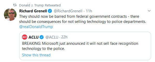 Trump Retweet Grenell Microsoft Facial Recognition