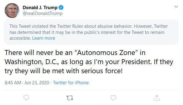 Trump Twitter Autonomous Zone Abusive Behavior