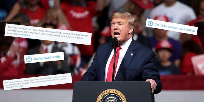 Trump Twitter Fact-Check Manipulated Media Glorifying Violence Abusive Behavior
