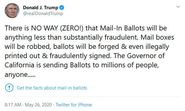 Trump Twitter Mail-In Ballots Fact Check