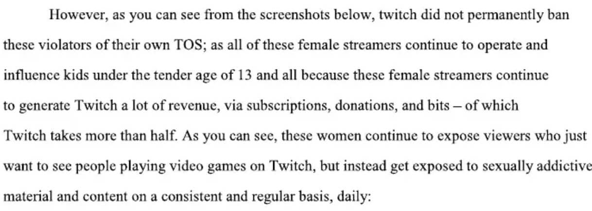 Twitch lawsuit - female streamers