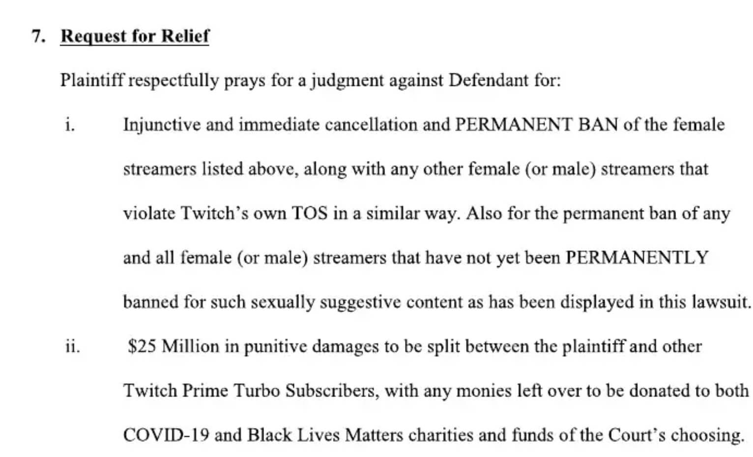 Twitch lawsuit - relief