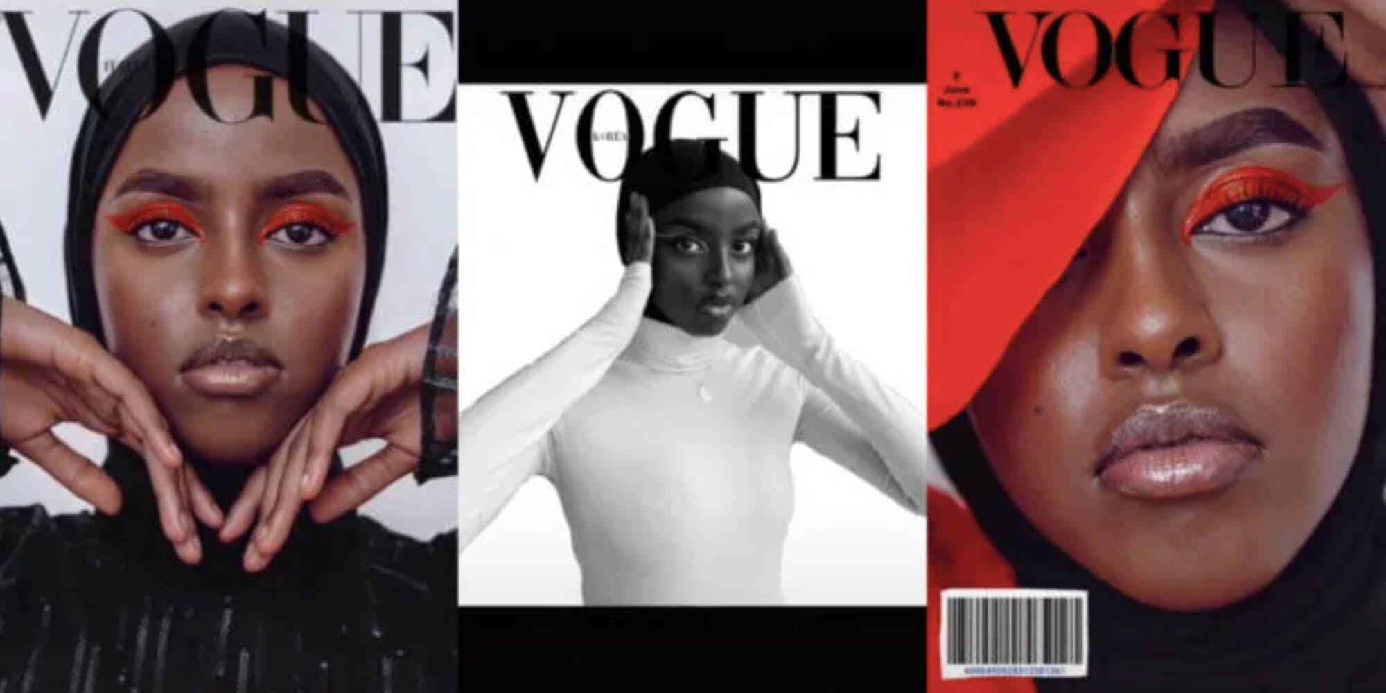 """Three screenshots showcase a young Black woman, TikTok user @itssalmanoor, posing like a model. The Vogue logo has been edited onto each picture, in keeping with the """"Vogue"""" challenge."""