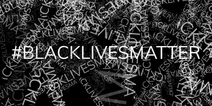 blacklivesmatter hashtag repeated in background