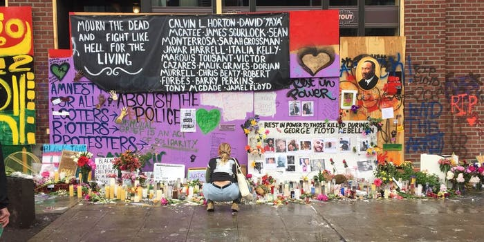 A memorial at the autonomous zone in Seattle