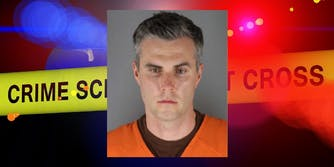 Officer Thomas Lane's mugshot over police lights and crime scene tape