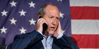 Dan Bishop waits to speak with President Trump