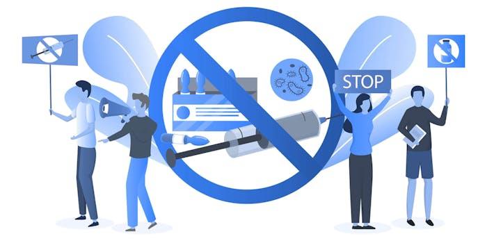 antivaccine protest illustration