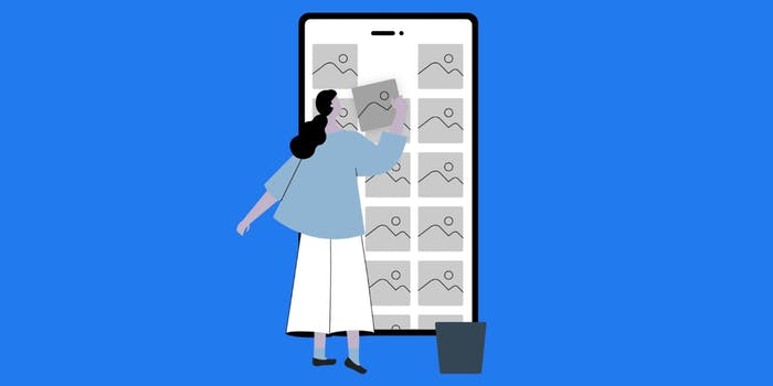 A cartoon woman interacting with a large phone