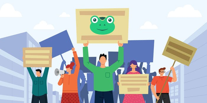 illustration of protesters holding signs with Gab frog