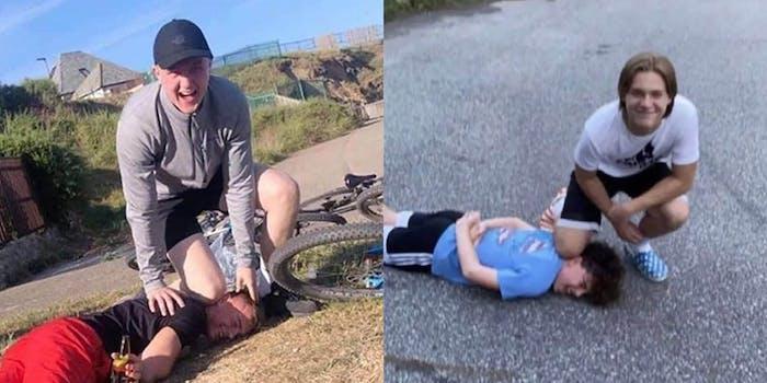 white teens mockingly re-enact George Floyd's murder