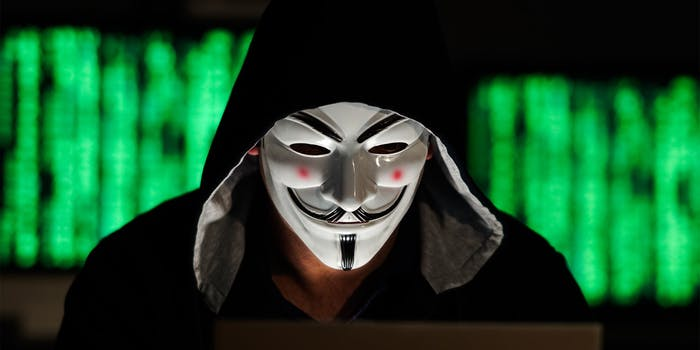 person wearing guy fawkes mask and hoody at computer