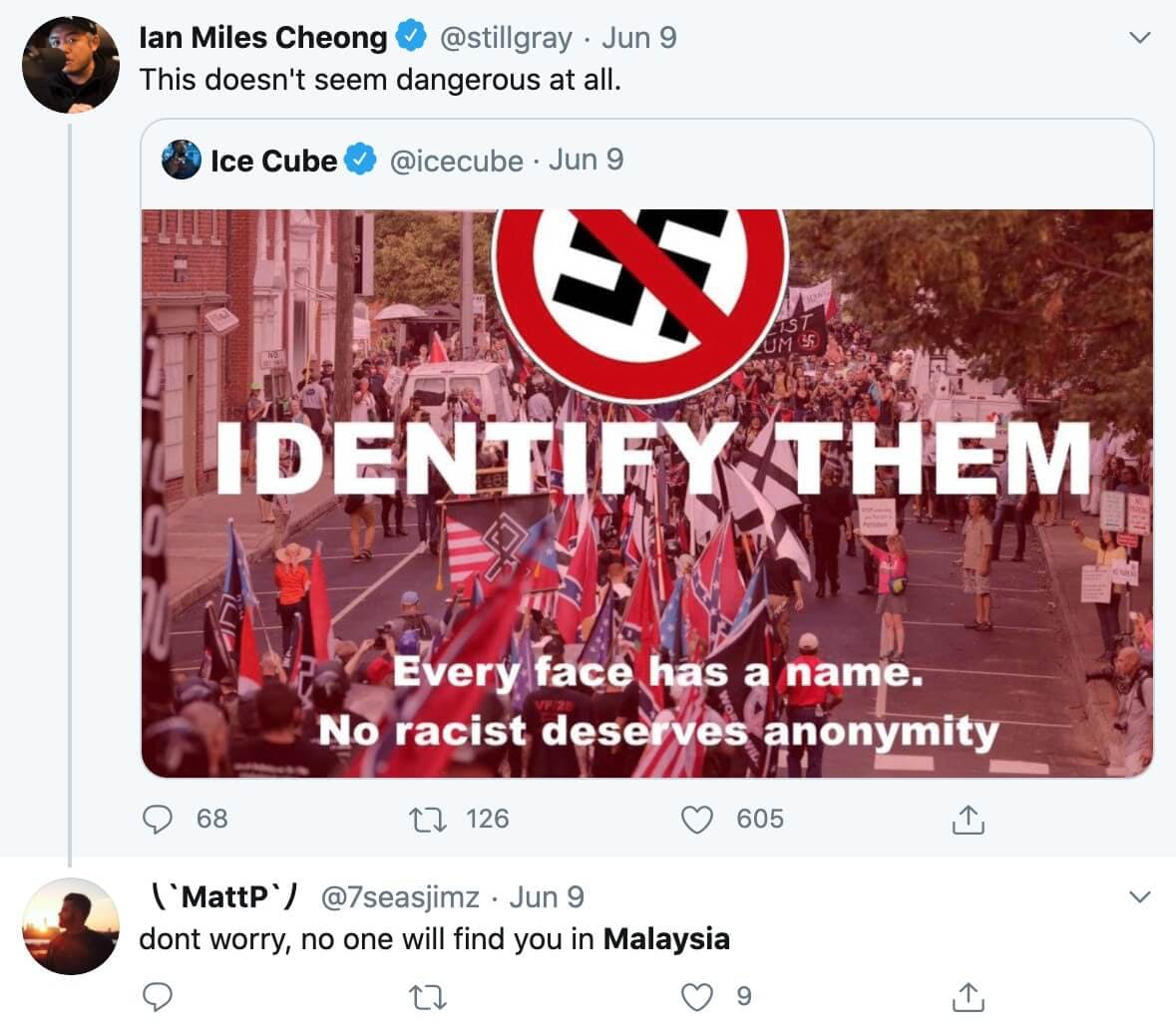 A reply to a political tweet from Ian Miles Cheong saying he won't have to worry about it in Malaysia