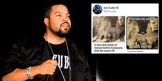 Ice Cube next to a tweet including Russian propaganda