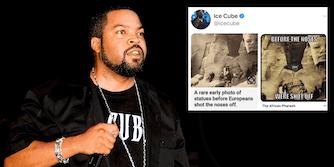 Ice Cube next to a tweet including Russian propaganda