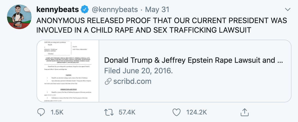 A tweet about court documents accusing Trump of rape