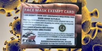 A face mask exempt card over the coronavirus
