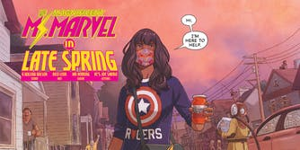 """ms marvel in late spring"" ms marvel says ""hi. i'm here to help"" while holding a jar of cherries"