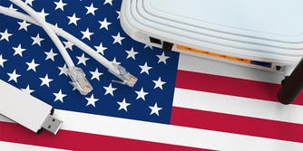 ethernet cables and router on united states flag