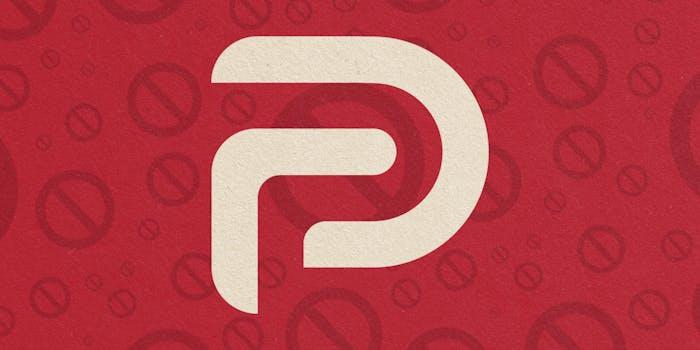 """Parler logo over """"no"""" symbol background"""