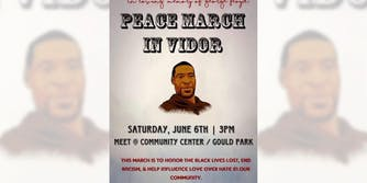 peace march in vidor poster with illustration of george floyd