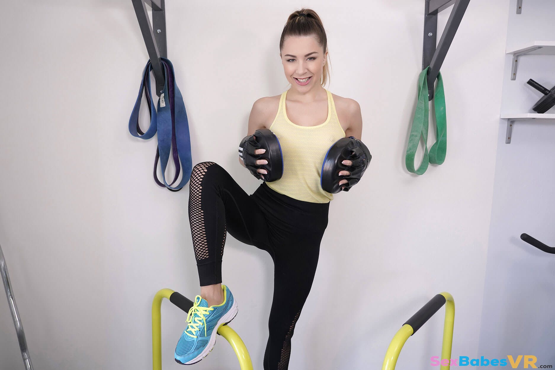 VR roleplaying porn featuring a woman in workout gear