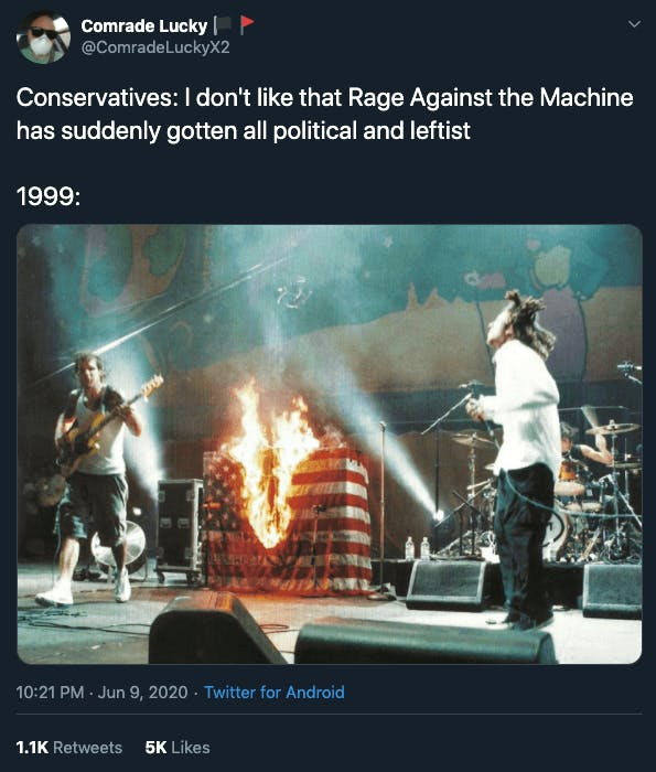 Rage Against the Machine conservatives Twitter