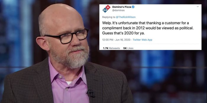 Rick Wilson next to a tweet from Domino's Pizza
