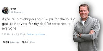 "robert regan with tweet from daughter ""if you're in michigan and 18+ pls for the love of god do not vote for my dad for state rep. tell everyone"""