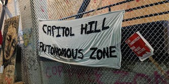 A banner for the Capitol Hill Autonomous Zone in Seattle