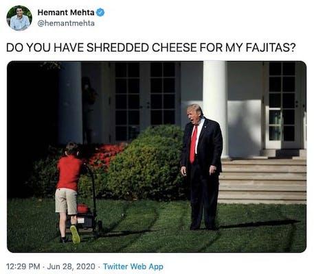 shredded cheese meme trump