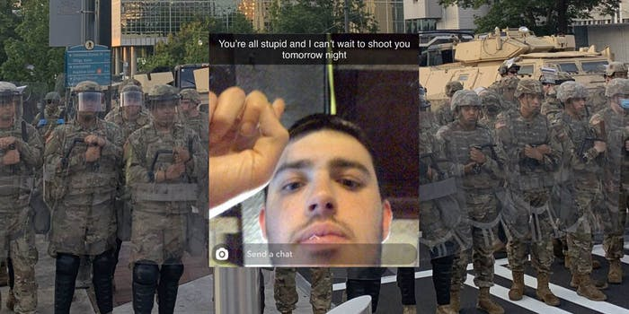 A snap of a threat over National Guard troops