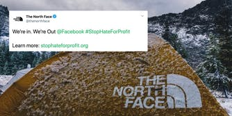 A tent from The North Face next to a tweet from the company