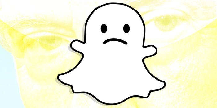 Snapchat ghost over Donald Trump background