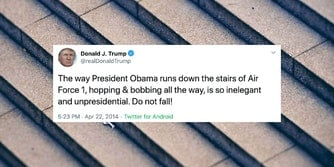 A tweet from Donald Trump over a set of stairs