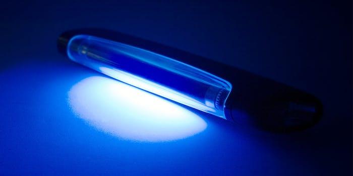 uv lamp on table. blue
