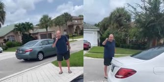 man yelling at girls for riding golf cart in wellington neighborhood