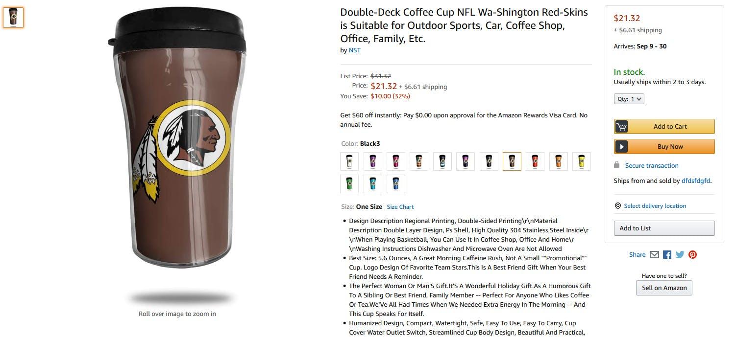 Amazon Washington Redskins Coffee