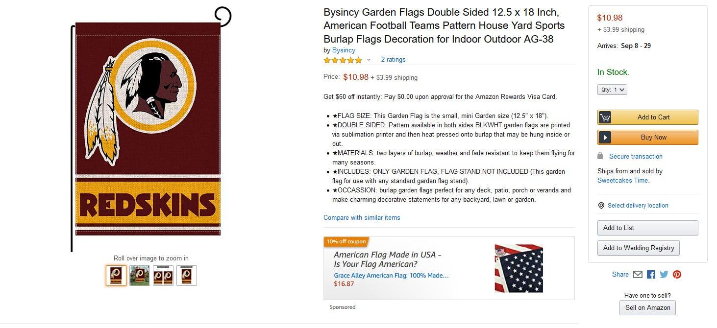 Amazon Washington Redskins Lawn Flag