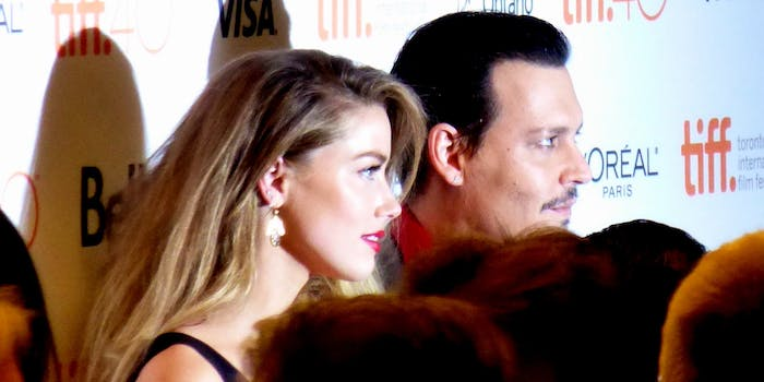 Amber Heard and Johnny Depp at the premiere of Black Mass, 2015 Toronto Film Festival