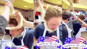 Screenshots show employees playing with a noose made of dough
