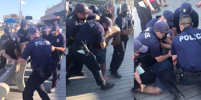 screenshots show Point Pleasant Beach Police restraining and huddling around Black man